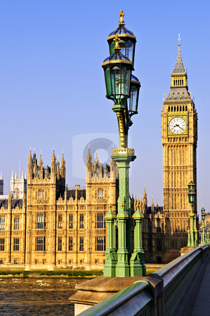 Palace of Westminster from bridge stock photo, Houses of Parliament with Big Ben in London from Westminster Bridge by Elena Elisseeva