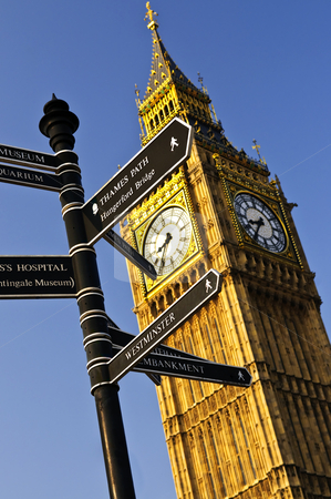 Big Ben clock tower stock photo, Big Ben clock tower with signpost in London by Elena Elisseeva