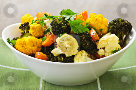 Roasted vegetables stock photo, Vegetarian dish of fresh roasted organic vegetables by Elena Elisseeva