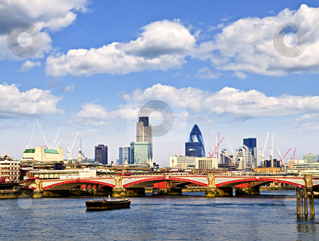 Blackfriars Bridge with London skyline stock photo, Blackfriars Bridge with London skyline behind from Thames river by Elena Elisseeva