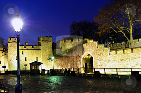 Tower of London walls at night stock photo, Illuminated Tower of London walls at night by Elena Elisseeva