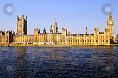 Palace of Westminster with Big Ben stock photo, Houses of Parliament with Big Ben from Thames river by Elena Elisseeva