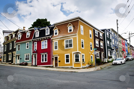 Colorful houses in St. John's stock photo, Colorful houses on street corner in St. John's, Newfoundland, Canada by Elena Elisseeva