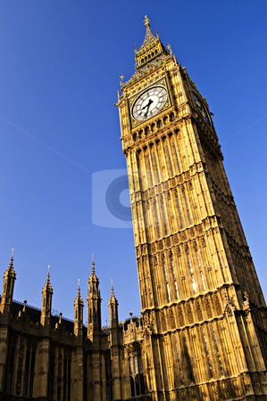 Big Ben clock tower stock photo, Big Ben clock tower and Houses of Parliament in London by Elena Elisseeva