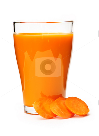Carrot juice in glass stock photo, Carrot juice in clear glass isolated on white background by Elena Elisseeva