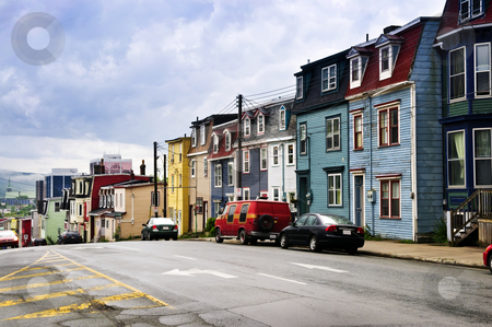 Colorful houses in St. John's stock photo, Street with colorful houses in St. John's, Newfoundland, Canada by Elena Elisseeva