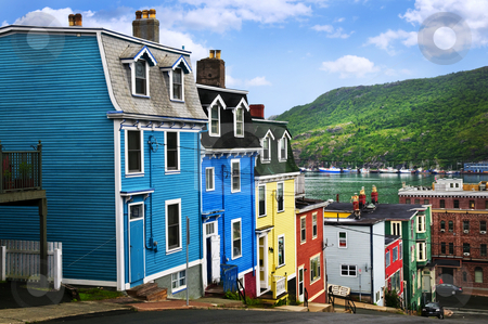 Colorful houses in St. John's stock photo, Street with colorful houses near ocean in St. John's, Newfoundland, Canada by Elena Elisseeva