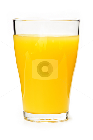 Orange juice in glass stock photo, Orange juice in clear glass isolated on white background by Elena Elisseeva