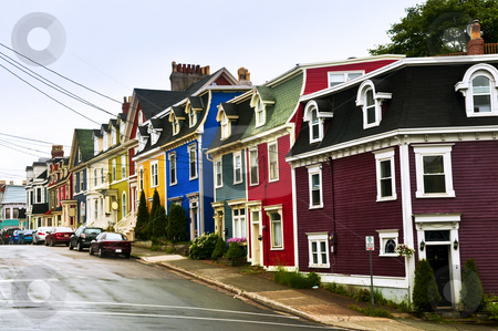 Colorful houses in Newfoundland stock photo, Street with colorful houses in St. John's, Newfoundland, Canada by Elena Elisseeva