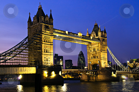 Tower bridge in London at night stock photo, Tower bridge in London England at night over Thames river by Elena Elisseeva