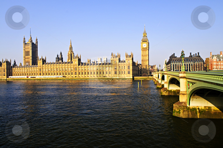 Palace of Westminster and bridge stock photo, Houses of Parliament with Big Ben and Westminster Bridge in London by Elena Elisseeva