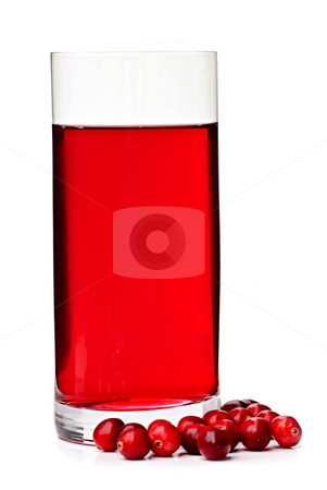 Cranberry juice in glass stock photo, Cranberry juice in clear glass isolated on white background by Elena Elisseeva