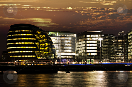 London city hall at night stock photo, New London city hall at night from Thames river by Elena Elisseeva