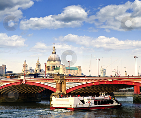 Blackfriars Bridge and St. Paul's Cathedral, London stock photo, Blackfriars Bridge, St. Paul's Cathedral and cruise boat in London by Elena Elisseeva