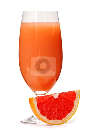 Grapefruit juice in glass stock photo, Grapefruit juice in clear glass isolated on white background by Elena Elisseeva
