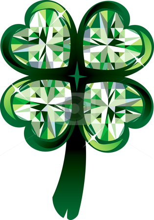 Clover Shamrock stock vector clipart, Vector Illustration of diamond four leaf clover shamrock. St. Patrick's Day. by Basheera Hassanali