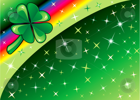 Shamrock Rainbow Background 2 stock vector clipart, Vector Shamrock Rainbow Background 2 with stars. There is space for text or image. by Basheera Hassanali