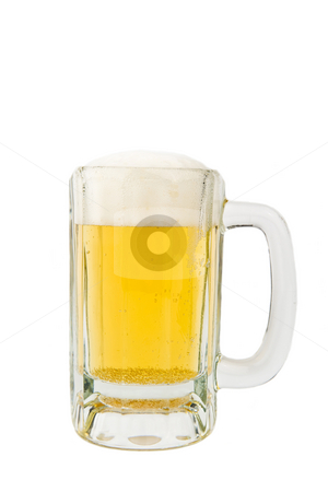 Cold Mug of Beer stock photo, Image of a mug of beer on white background by Greg Blomberg
