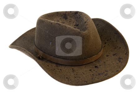 Wet wool felt cowboy hat stock photo, Brown wool felt cowboy hat with rain drops isolated on white background by Marek Uliasz