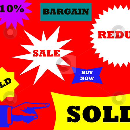 Sale background stock photo, Illustration of sale background with various labels and elements. by Martin Crowdy