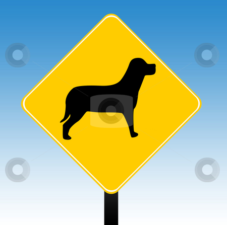 Dogs warning sign stock photo, Dogs warning road sign with a blue sky background. by Martin Crowdy