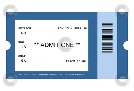 Event ticket stock photo, Illustration of ticket for event with bar code, isolated on white background. by Martin Crowdy