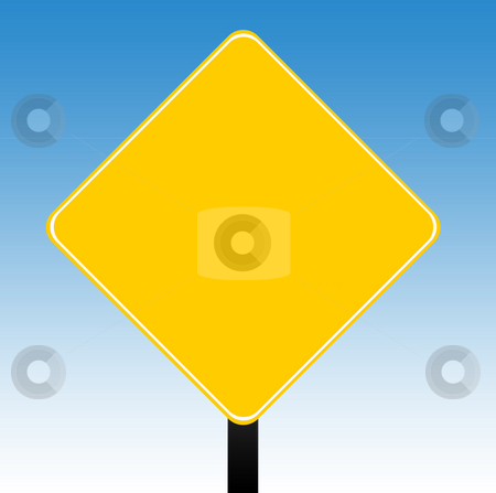 Blank yellow sign stock photo, Blank yellow road sign with a blue sky background. by Martin Crowdy