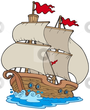 Old sailboat stock vector clipart, Old sailboat on white background - vector illustration. by Klara Viskova