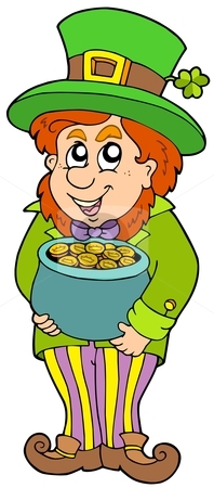 Leprechaun with treasure pot stock vector clipart, Leprechaun with treasure pot - vector illustration. by Klara Viskova