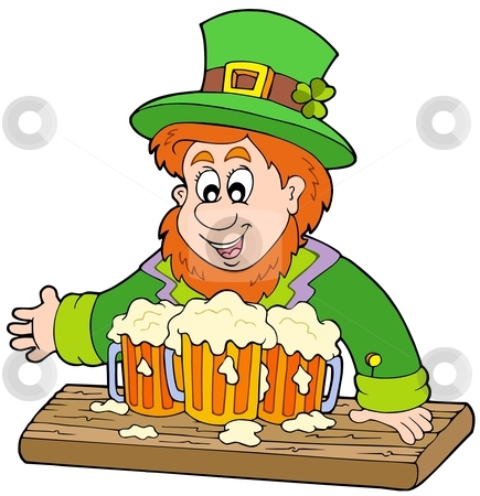 Leprechaun with three beers stock vector clipart, Leprechaun with three beers - vector illustration. by Klara Viskova