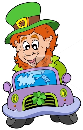 Cartoon leprechaun driving car stock vector clipart, Cartoon leprachaun driving car - vector illustration. by Klara Viskova