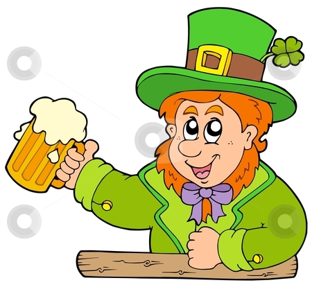 Cartoon leprechaun with beer stock vector clipart, Cartoon leprechaun with beer - vector illustration. by Klara Viskova