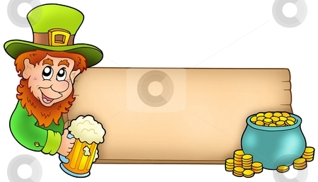 Board with leprechaun and gold stock photo, Board with leprechaun and gold - color illustration. by Klara Viskova