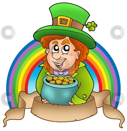 Banner with cartoon leprechaun stock photo, Banner with cartoon leprechaun - color illustration. by Klara Viskova