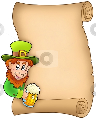 Parchment with leprechaun and beer stock photo, Parchment with leprechaun and beer - color illustration. by Klara Viskova