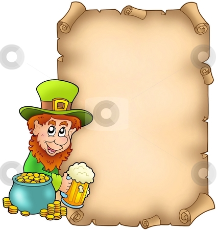 Parchment with leprechaun and gold stock photo, Parchment with leprechaun and gold - color illustration. by Klara Viskova