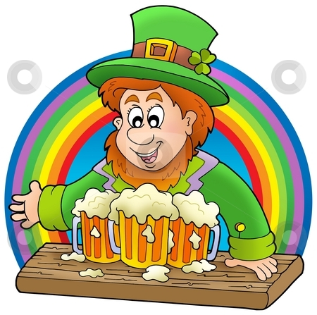 Leprechaun with beers and rainbow stock photo, Leprechaun with beers and rainbow - color illustration. by Klara Viskova