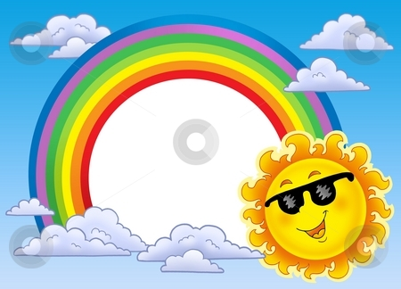 Rainbow frame with Sun in sunglasses stock photo, Rainbow frame with Sun in sunglasses - color illustration. by Klara Viskova