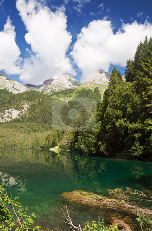 Lago Tovel, Italy stock photo, Summer view of a beautiful lake in Italian alps. Photo taken with polarized filter by ANTONIO SCARPI