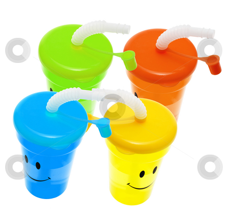 Plastic Sucking Cups stock photo, Plastic Sucking Cups on White Background by Lai Leng Yiap