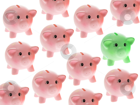 Piggy Banks stock photo, Piggy Banks on White Background by Lai Leng Yiap