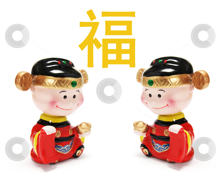 Chinese New Year Figurines stock photo, Chinese New Year Figurines on Isolated White Background by Lai Leng Yiap