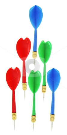 Darts stock photo, Darts on Isolated White Background by Lai Leng Yiap