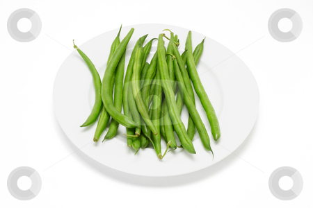 Plate of French Beans stock photo, Plate of French Beans on White Background by Lai Leng Yiap