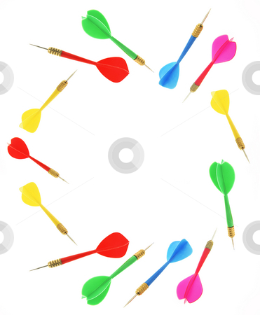 Darts stock photo, Darts with Copy Space on White Background by Lai Leng Yiap