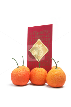 Red Envelope and Tangerines stock photo, Red Envelope and Tangerines on White Background by Lai Leng Yiap
