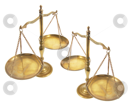 Brass Scales stock photo, Brass Scales on Isolated White Background by Lai Leng Yiap