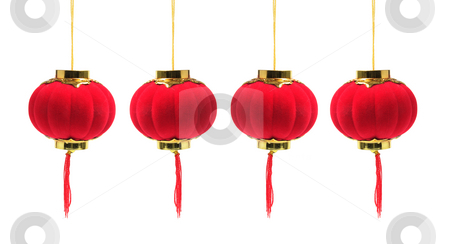Chinese Lanterns stock photo, Chinese Lanterns on White Background by Lai Leng Yiap