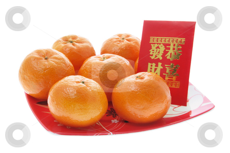 Mandarin and Red Packet stock photo, Mandarin and Red Packet on Isolated White Background by Lai Leng Yiap