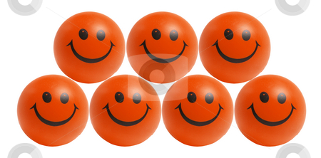 Smiley Bals stock photo, Smiley Balls on White Background by Lai Leng Yiap